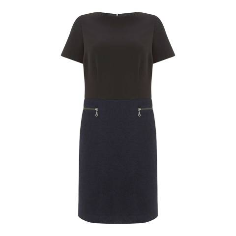 Mint Velvet Black Crepe & Wool Mix Dress