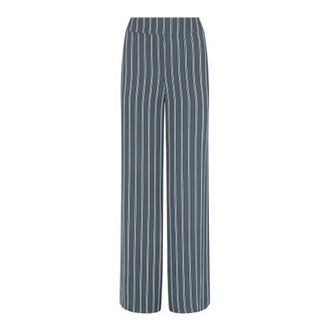 Mint Velvet Green Striped Wide Leg Trousers