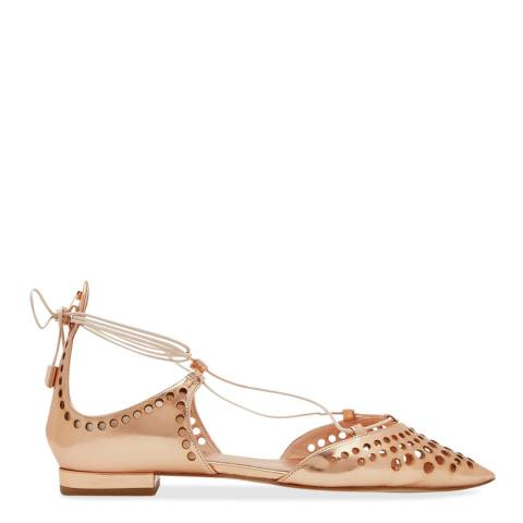 Ted Baker Rose Gold Metallic Lace Up Flats