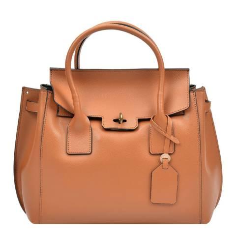Luisa Vannini Tan Brown Leather Tote Bag
