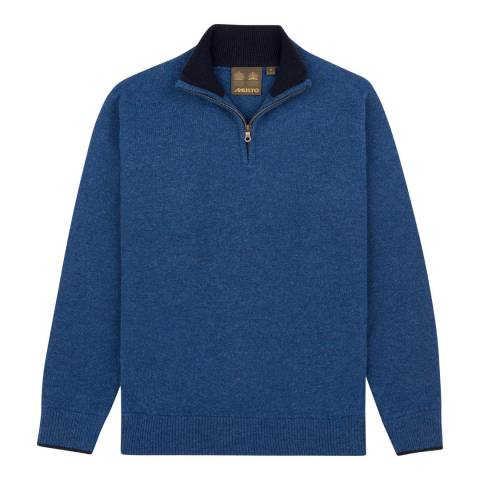 Musto Blue Shooting Zip Neck Knit