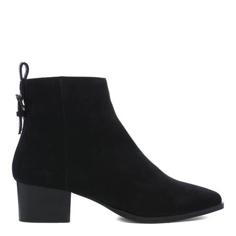 Dune London Black Proudly Pointed Mid Block Heel Ankle Boot