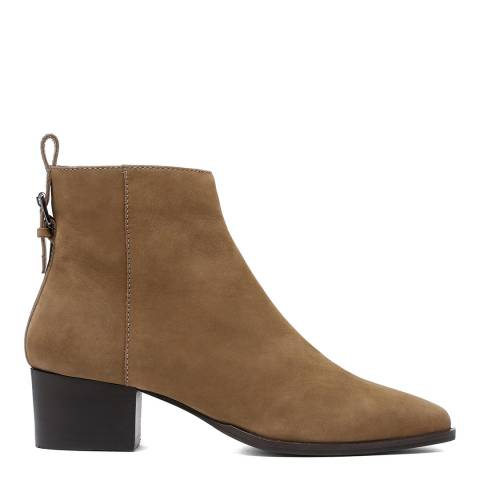 Dune London Taupe Proudly Pointed Mid Block Heel Ankle Boot