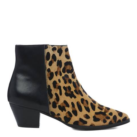 Dune London Leopard & Black Planne Ankle Boot