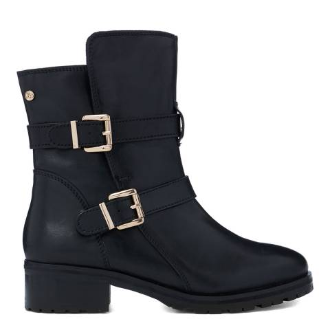 Dune London Black Rosewing Leather Buckle Detail Ankle Boot