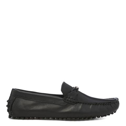 Dune London Black Leather Bali Loafers