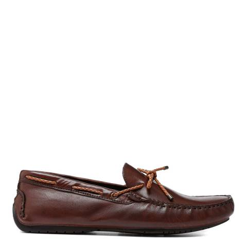 Dune London Brown Leather Bali Loafers