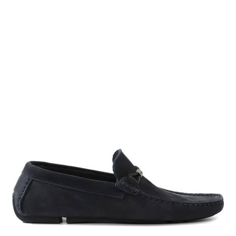Dune London Navy Leather Bali Loafers