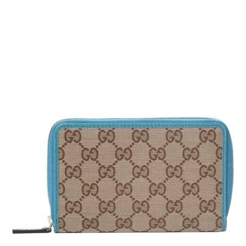 Gucci Teal/Beige Gucci Monogram Zip Around Purse