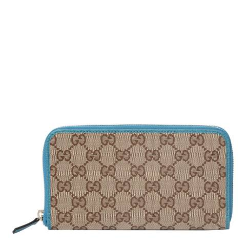 Gucci Teal/Beige Gucci Monogram Zip Around Purse
