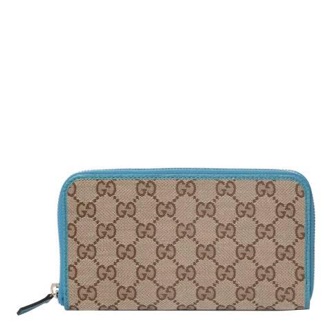 Gucci Women's Orange/Beige Gucci Monogram Zip Around Purse