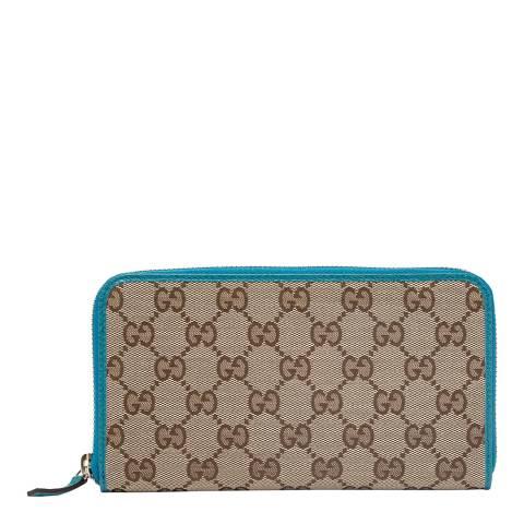 Gucci Blue/Beige Gucci Monogram Zip Around Purse
