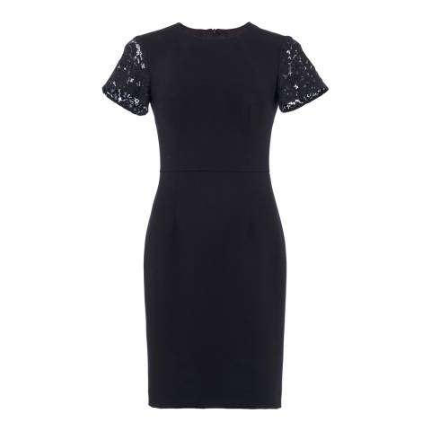 French Connection Black Whisper Ruth Short Sleeve Round Neck Bodycon Dress