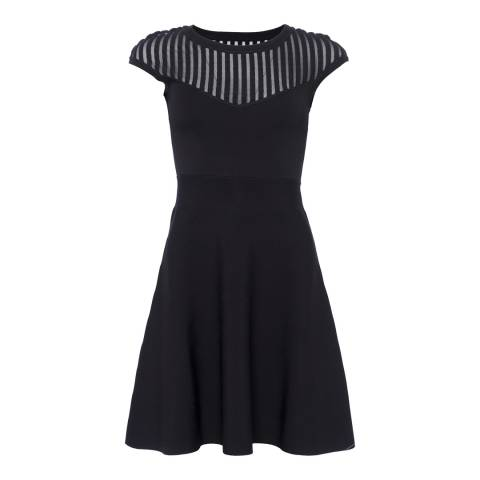 French Connection Black Rose Fit and Flare Dress