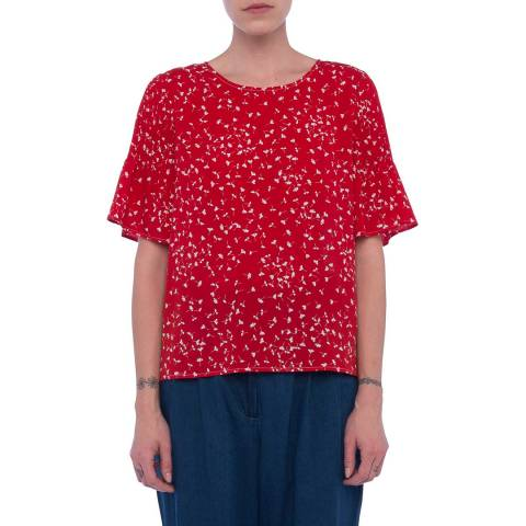 French Connection Red/Cream Floral Komo Crepe Top