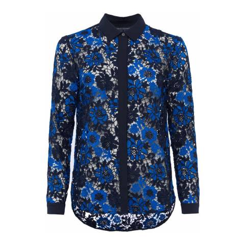 French Connection Blue Floral Lace Musea Shirt