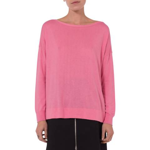 French Connection Pink Vented Back Silk Blend Jumper
