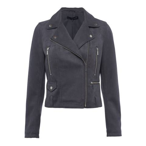 French Connection Slate Aimee Suedette Biker Jacket