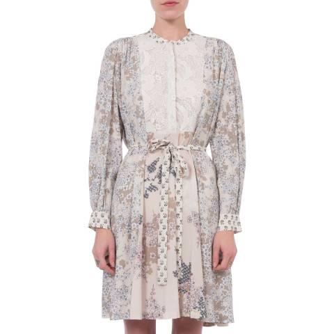 French Connection Multi Rishiri Drape Long Sleeve Flared Dress