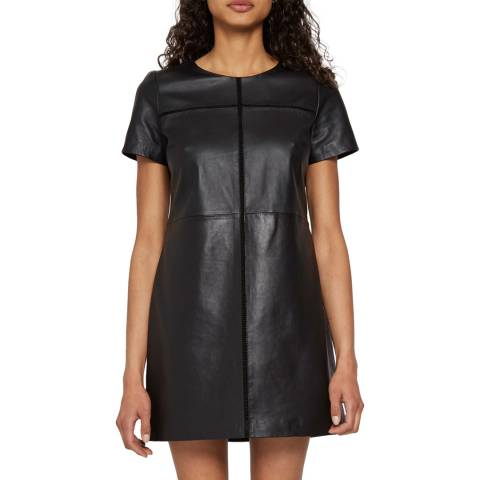 French Connection Black Leather Gizo Dress