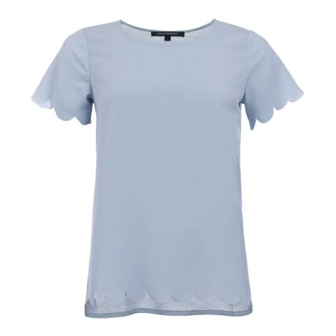 French Connection Blue Crepe Light Scallop Top