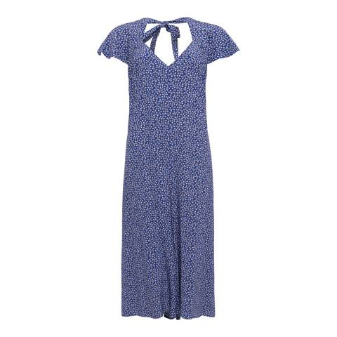 French Connection Heritage Blue Elao Drape Long Jumpsuit
