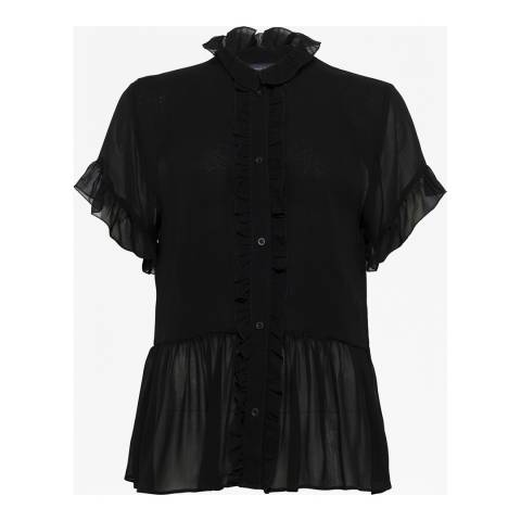 French Connection Black Clandre Ruffle Blouse