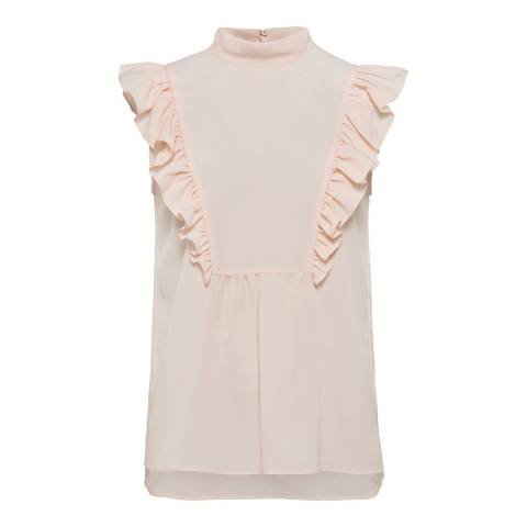 French Connection Pink Light Crepe Mock Top