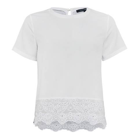 French Connection White Light Crepe Lace Top