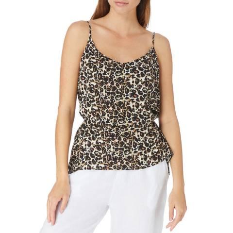 Laycuna London Khaki Leopard Print Trapeze Tie Cami