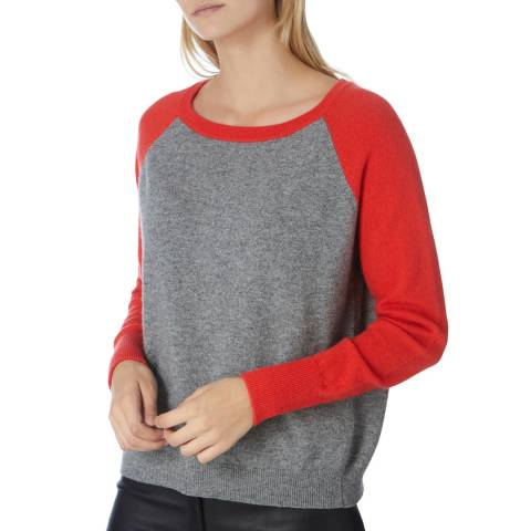 Scott & Scott London Grey/Red Cashmere Round Neck Carolina Jumper
