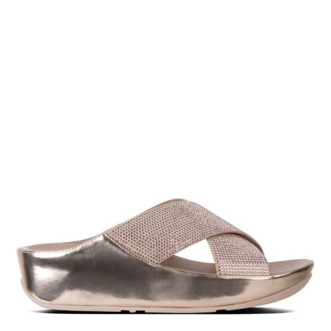 FitFlop Metallic Rose Gold Crystall Slide Sandal