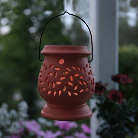 Solar Editions Orange Clay Lantern