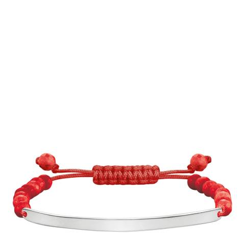 Thomas Sabo Silver/Red Dyed Bamboo Coral Bracelet