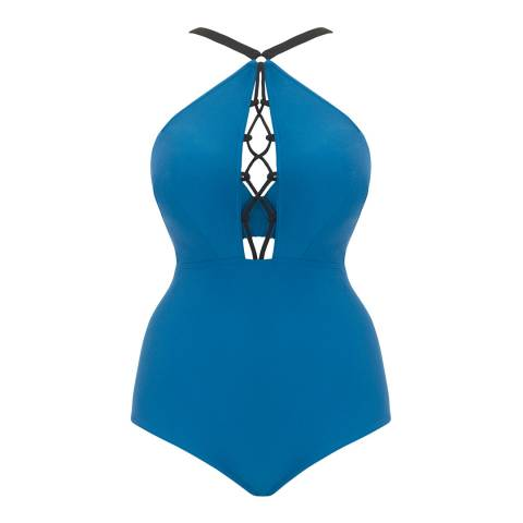 Curvy Kate Blue Rock The Pool Curvy Kate Padded Plunge Swimsuit
