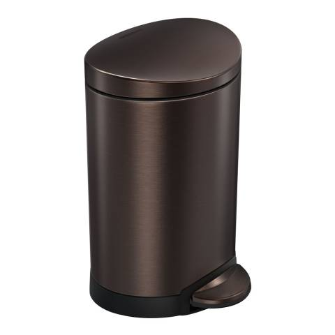 Simplehuman Dark Bronze Steel Semi-Round Pedal Bin, 6L