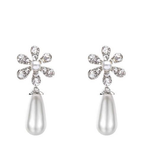 Liv Oliver Crystal & Pearl Drop Earrings