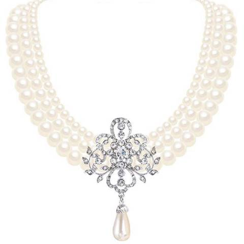 Liv Oliver Crystal & Pearl Statement Necklace