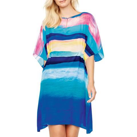 Gottex Blue/Pink Ombre Stripe Beach Dress
