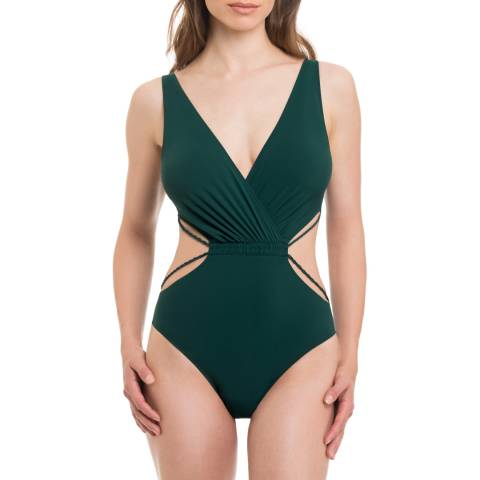Profile By Gottex Dark Green Cut Out Swimsuit
