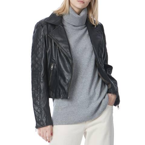 N°· Eleven Black Leather Quilted Biker Jacket