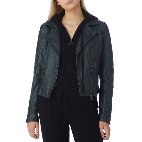 N°· Eleven Green Leather Quilted Biker Jacket