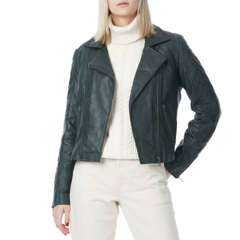N°· Eleven Green Leather Quilted Biker Jacket