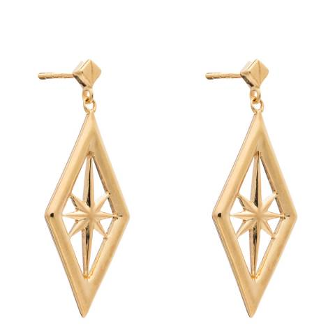 Rachel Jackson London Nova Star Earrings 22Ct Gold Plated Sterling Silver