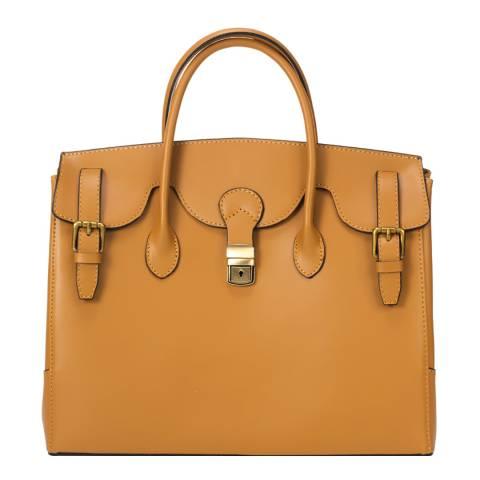 Lisa Minardi Tan Leather Top Handle Bag