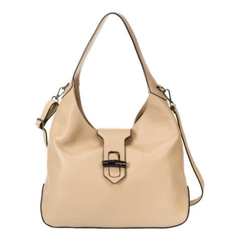 Lisa Minardi Nude Flap Buckle Top Handle Bag