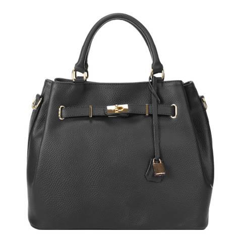 Massimo Castelli Black Keyring Detail Leather Top Handle Bag