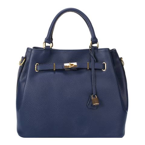 Massimo Castelli Navy Blue Keyring Detail Leather Top Handle Bag