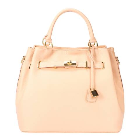 Massimo Castelli Rose Pink Keyring Detail Leather Top Handle Bag