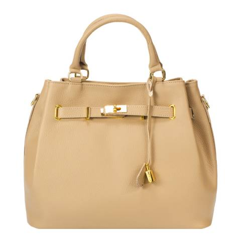 Massimo Castelli Taupe Keyring Detail Leather Top Handle Bag